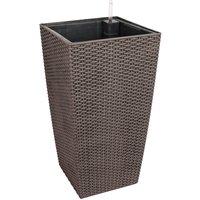 DazHom® Plastic Flower Pot With Internal Liner, Bucket For Garden Plant, Indoor/Outdoor Planters Pot Brown
