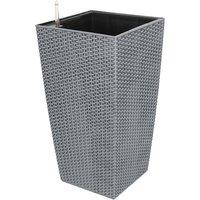 ® Plastic Flower Pot With Internal Liner, Bucket For Garden Plant, Indoor/Outdoor Planters Pot Gray - Dazhom