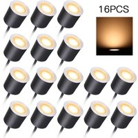 DC12V Low Voltage Recessed LEDs Deck Lights IP67 Waterproof Outdoor In-ground Lamp, Warm white , 16pcs - ASUPERMALL