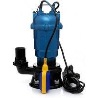 Hucoco - DCRAFT | Pompe d'évacuation submersible avec flotteur et broyeur | Puissance 2750W | Débit 21000l/h | Pompe de relevage eaux usées - Bleu