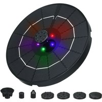 Decdeal 3.8W 190MM diameter solar fountain with colorful breathing light at night