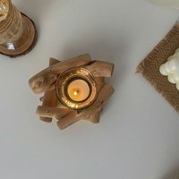 Thsinde - Decorative Candle Tray Set,Set of 2 Wood Tealight Candle Holders for Vintage Home Decor, Candle holders Christmas Candlestick Holders for