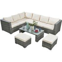 Deluxe 4 Piece Rattan Corner Garden Furniture Patio Set - Grey/Cream