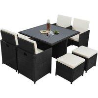 Raygar - Deluxe 9 Piece 8 Seater Rattan Dining Garden Furniture Patio Set - Black