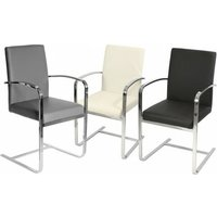 Derick Chrome Carver Kitchen Dining Chairs With Arms 3 Colours Grey - NETFURNITURE