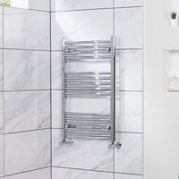 Fjord 800 x 500mm Curved Chrome Heated Towel Rail - - WARMEHAUS