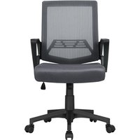 Yaheetech - Mesh Chair Ergonomic Office Chair Height Adjustable Computer Chair Mid-Back with Comfort Breathable Lumbar Support - Dark Gray