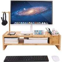 Unho - Desk Monitor Stand Laptop Computer Screens Riser Accessories Storage Organizer