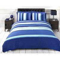 Detroit Blue White Striped Duvet Cover Quilt Bedding Set, Single Bed Size