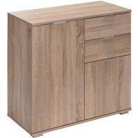 Deuba - Sideboard Cabinet White Oak Home Office Furniture Cupboard 2 Door Shelf Drawers DB121 - Eiche (de)
