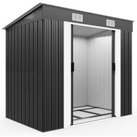 Deuba Garden Metal Tool Shed Size and Colour Choice Galvanised Green Anthracite Brown Roofed Outdoor Storage (Grey)