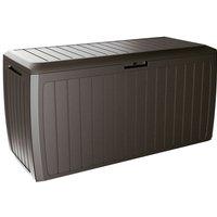 Deuba Garden Box 290L Storage Plastic Outdoor Patio Deck Chest 114x47x60cm Rattan Style with Lid and Wheels Board PLUS braun (de) - PROSPERPLAST