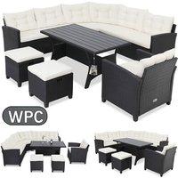 Deuba Poly Rattan Garden Furniture WPC Dining Table Set Outdoor Patio Conservatory Corner Sofa Wicker Lounge