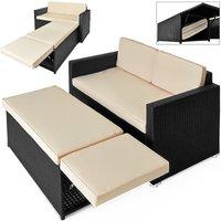 Deuba Poly Rattan Sofa Sun Lounger Day Bed Outdoor Garden Patio Ottoman Storage Bench Conservatory Black 2 Seater