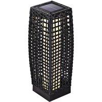 Solar Poly Rattan Standard Light Patio LED Garden Wicker Standing Lantern Gartenlampe 50cm (de) - Deuba