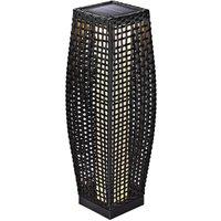 Solar Poly Rattan Standard Light Patio LED Garden Wicker Standing Lantern Gartenlampe 70cm (de) - Deuba