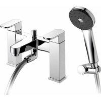 Amio Bath Shower Mixer Tap with Shower Kit and Wall Bracket - Chrome - Deva