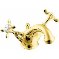 Coronation Mono Basin Mixer Tap with Pop Up Waste - Gold - Deva