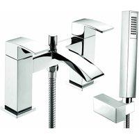 Swoop MK2 Pillar Mounted Bath Shower Mixer Tap with Shower Kit and Wall Bracket - Chrome - Deva