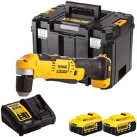 Dewalt DCD740N 18V Right Angle Drill with 2 x 5.0Ah Batteries and Charger in TSTAK:18V