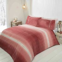 Diamante Ombre Teddy Fur Blush Double Duvet Cover Set, Bedding Bed Quilt Set - RAPPORT