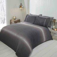Rapport - Diamante Ombre Teddy Fur Grey Single Duvet Cover Set, Bedding Bed Quilt Set