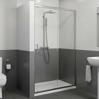 1000 x 800mm Sliding Shower Door Enclosure 8mm Glass Panel Framed Tray and Waste
