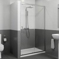 1400 x 800mm Sliding Shower Door Enclosure 8mm Glass Panel Framed Tray and Waste