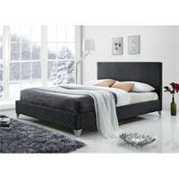 Diamond Fabric Grey Bed Frame - Double 4ft 6