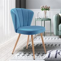 Dining Chair Set of 1 or 2 Velvet Fabric Oyster Armchair Shell Stitched Back Living Room Bedroom Chair (Blue, 1)