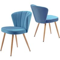 Dining Chair Set of 2 Velvet Fabric Oyster Armchair Shell Stitched Back Living Room Bedroom Chair Blue