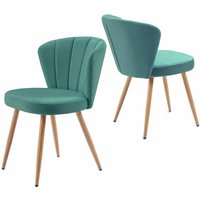 Dining Chair Set of 2 Velvet Fabric Oyster Armchair Shell Stitched Back Living Room Bedroom Chair Green