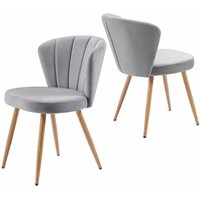 Dining Chair Set of 2 Velvet Fabric Oyster Armchair Shell Stitched Back Living Room Bedroom Chair Grey