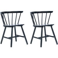 Dining Chairs 2 pcs Black Solid Rubber Wood - Black