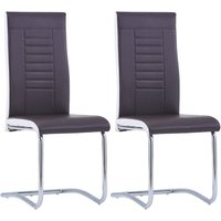Cantilever Dining Chairs 2 pcs Brown Faux Leather - Brown - Vidaxl