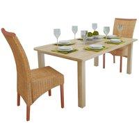 Zqyrlar - Dining Chairs 2 pcs Brown Natural Rattan - Brown