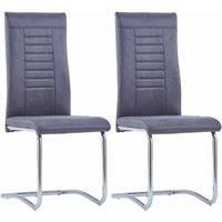 Cantilever Dining Chairs 2 pcs Grey Faux Suede Leather - Grey - Vidaxl