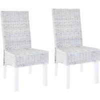Zqyrlar - Dining Chairs 2 pcs Grey Kubu Rattan and Mango Wood - Grey