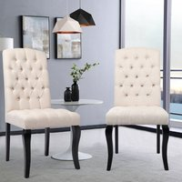 Dining Chairs 2 pcs Linen Fabric - dining room chairs, kitchen chairs, dining table chairs - Beige - LIVINGANDHOME