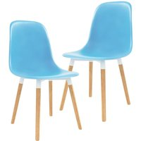 Dining Chairs Plastic 2 pcs Blue - Blue - Vidaxl
