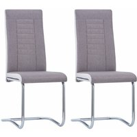 vidaXL Cantilever Dining Chairs 2 pcs Taupe Fabric - Brown