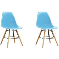 Dining Chairs Plastic 2 pcs Blue - VIDAXL