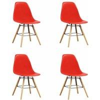 Dining Chairs Plastic 4 pcs Red - VIDAXL