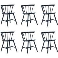 Dining Chairs 6 pcs Black Solid Rubber Wood - Black - Vidaxl