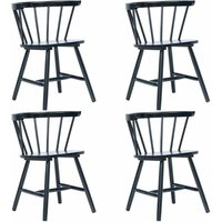 Dining Chairs 4 pcs Black Solid Rubber Wood - Black - Vidaxl