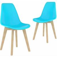 Dining Chairs Plastic 2 pcs Blue - Blue - Vidaxl