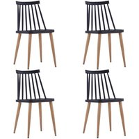 Dining Chairs 4 pcs Black Plastic - Black