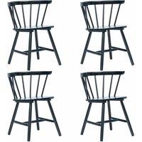 Zqyrlar - Dining Chairs 4 pcs Black Solid Rubber Wood - Black