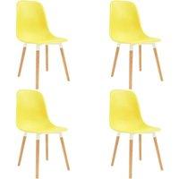 Dining Chairs 4 pcs Yellow Plastic - VIDAXL