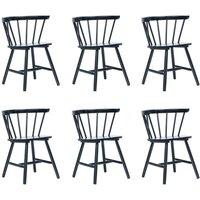 Zqyrlar - Dining Chairs 6 pcs Black Solid Rubber Wood - Black